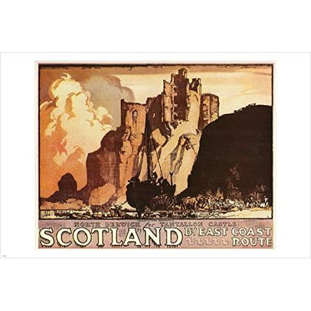 Scotland Vintage Travel Poster Coastline Castle Horses 24X36 Classic