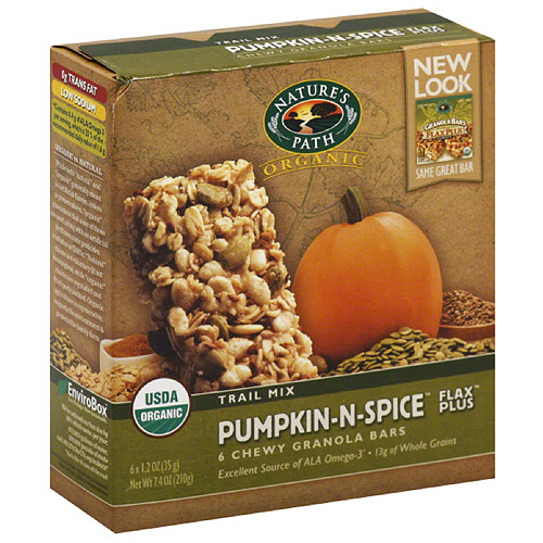 Nature's Path Organic Pumpkin-N-Spice Flax Plus Chewy Granola Bars, 7.4 oz, (Pack of 6)