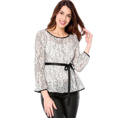 Women Self-Tie Waist Contrast Long Sleeve Semi Sheer Lace Peplum Top