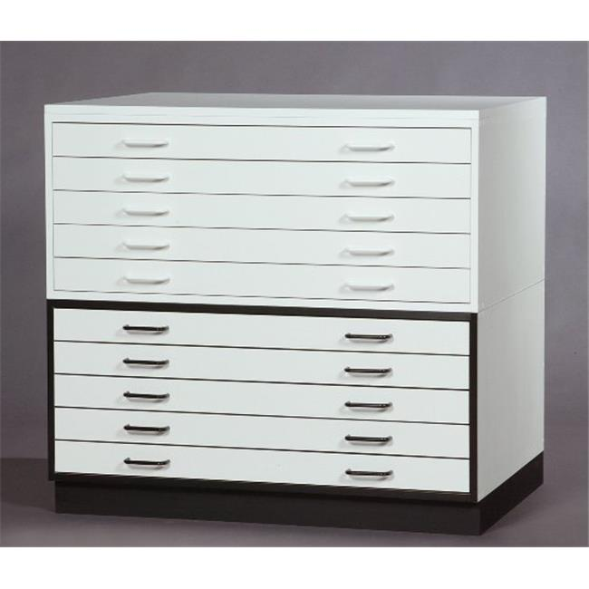 SMI 2436-5DMW 24 X 36 in. Melamine Plan File, 5-Drawer, White Trim