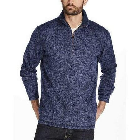 Denim Fleece Pullover - Weatherproof Vintage Men's ¼ Zip Sweater Fleece Pullover (XL, Denim)
