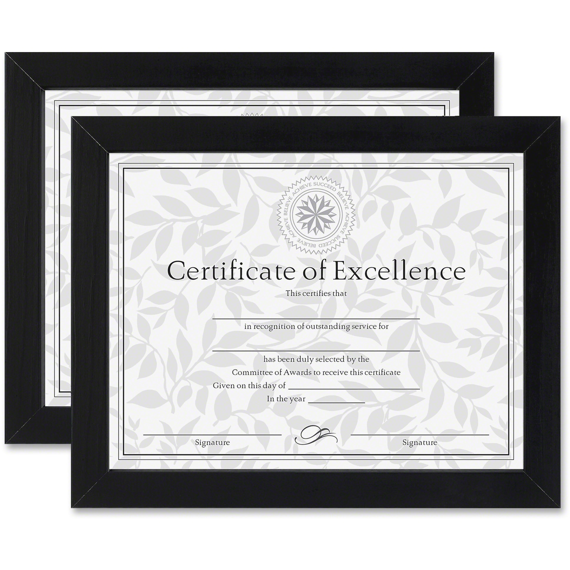 DAX Document/Certificate Frames, Wood, 8 1/2 x 11, Black, Set of Two