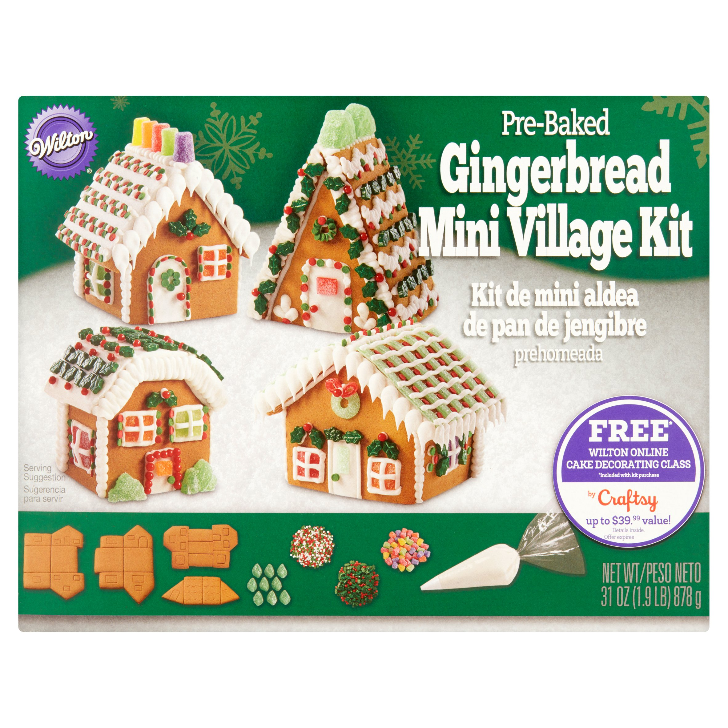Wilton Pre-Baked Gingerbread Mini Village Kit 31 oz