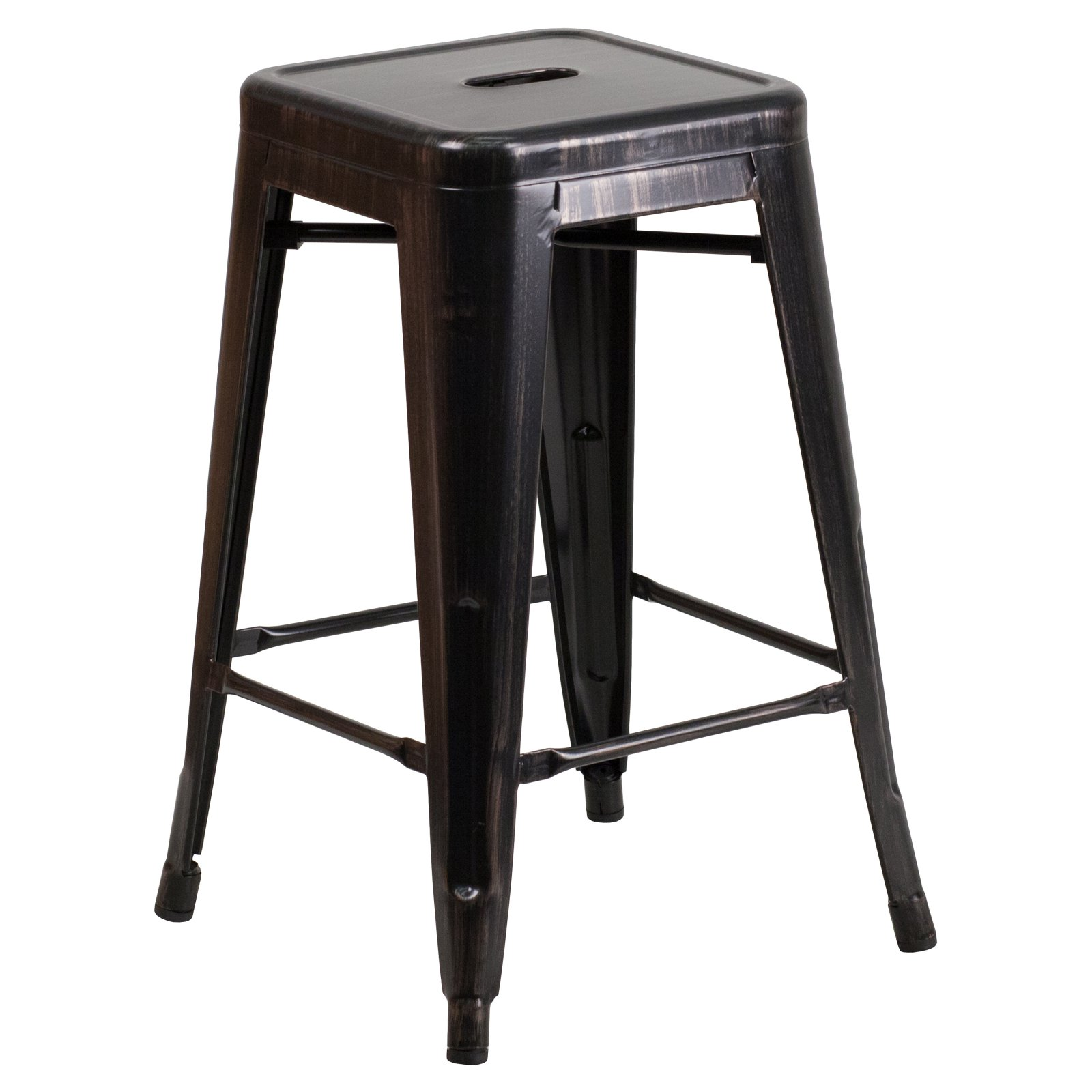 Flash Furniture 24'' High Backless Black-Antique Gold Metal Indoor-Outdoor Counter Height Stool with Square Seat