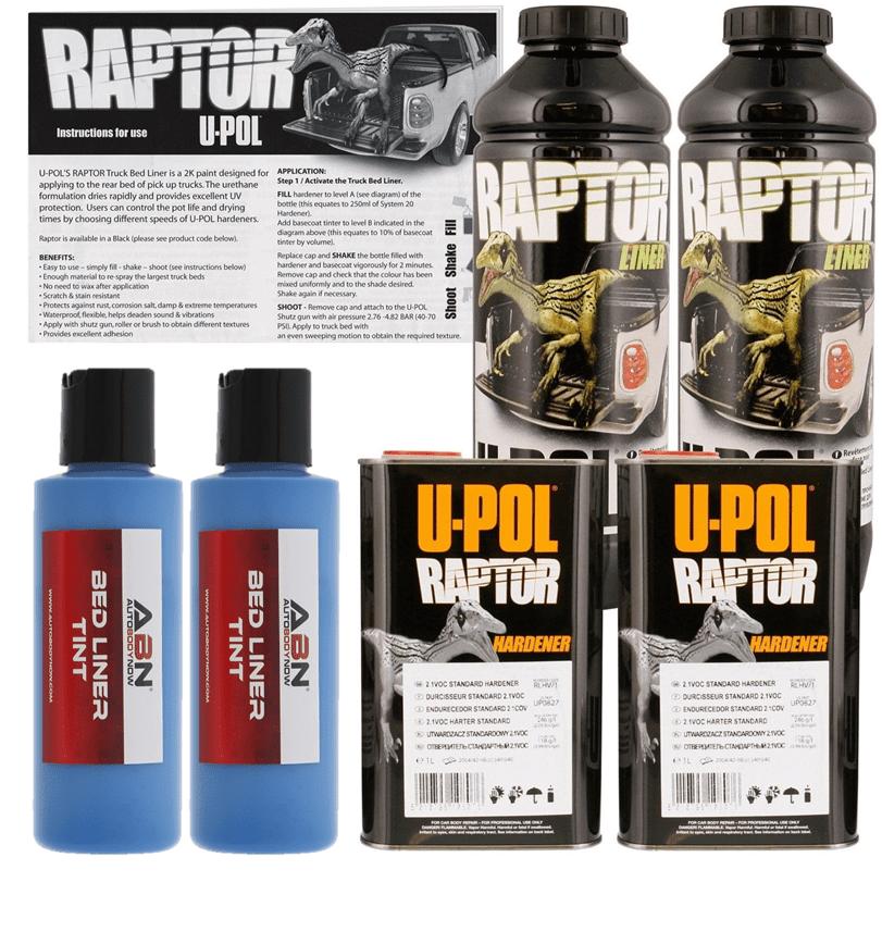 U-POL Raptor Tintable Safety Blue Urethane Spray-On Truck Bed Liner, 2L Upol