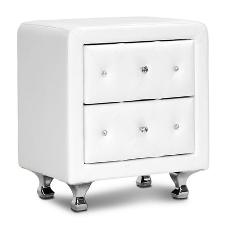 Stella Crystal Tufted Upholstered Modern Nightstand ()