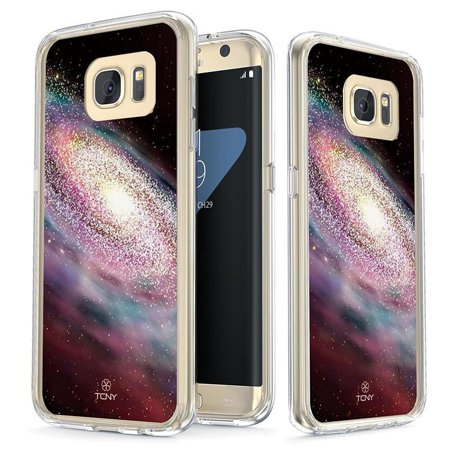 Samsung Galaxy S7 Edge Case - True Color Clear-Shield Spiral Galaxy [Galaxy Collection] Printed on Clear Back - Perfect Soft and Hard Thin Shock Absorbing Dustproof Full Protection Bumper Cover