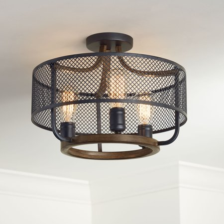 finest selection 8f2cd 82240 Franklin Iron Works Farmhouse Ceiling Light Semi Flush Mount Fixture Black  Mesh Wood 16