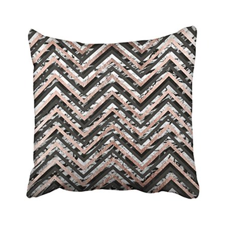 Vintage Rose Pattern (WinHome Modern Vintage Big Black And Marble Rose Gold Chevron Simple Zigzag Pattern Polyester 18 x 18 Inch Square Throw Pillow Covers With Hidden Zipper Home Sofa Cushion Decorative)