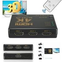 Ultra HD 4K 2k 3 Port Splitter 1080P Full HD/3D Switch Switcher HUB For HDTV HDTV 360 DVD Xbox360 + Wireless Remote