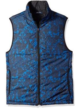 Nautica NEW Estate Blue Mens Size XL Printed Full-Zip Vest Jacket