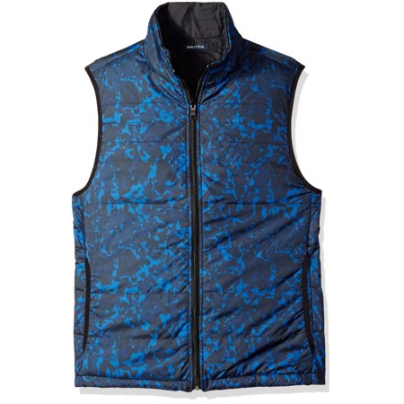Nautica NEW Estate Blue Mens Size XL Printed Full-Zip Vest Jacket Print Puffy Jacket