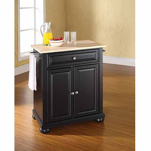 Crosley Furniture Alexandria Natural Wood Top Portable Kitchen Island