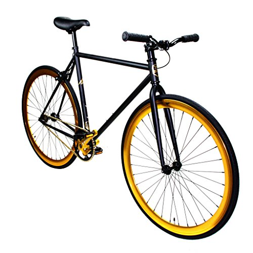 Zycle Fix Fixie Single Speed Fixie Road Bike (Black Gold, 55)