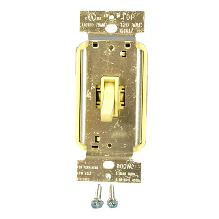 - Pass & Seymour Ivory TOGGLE Dimmer Switch LOW VOLTAGE Single Pole 600VA TLV600IV