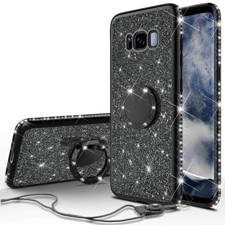 Galaxy S8 Plus Case, Cute Glitter Ring Stand Phone Case with Kickstand, Bling Diamond Bumper Ring Stand Sparkly Luxury Clear Thin Soft Protective Samsung Galaxy S8 Plus Cover for Girls Women - Black - image 3 of 6