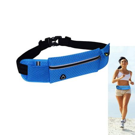 Blue Unisex Bum Jogging Running Bag Hiking Sport Pack Waist Belt Zip Pouch