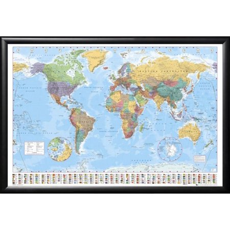 FRAMED World Map with Flags 24x36 Dry Mounted in Real Wood Black Finish Crafted in USA