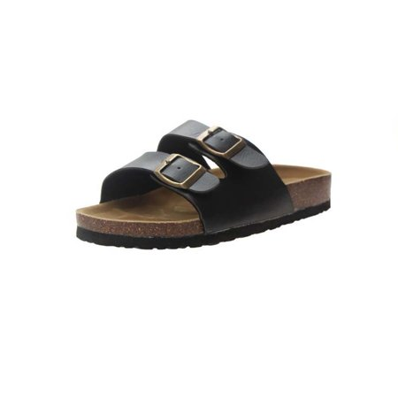 Topcobe Sandals for Women, Thong Sandals for Women, Women's Light Weight Double Buckles Slide Sandal, Black Summer Beach Soft Adjustable Buckle Flat Open Toe Slide Shoe for Men(Women's Size)