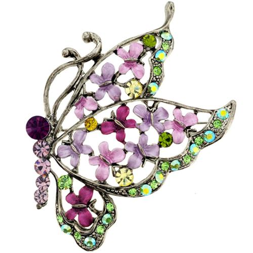 Fantasyard Silvertone Purple, Pink and Green Crystal Butterfly Brooch by Overstock