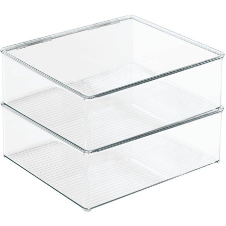 InterDesign Closet Binz Stackable Box with Lid Blouse, - Clear Containers With Lids