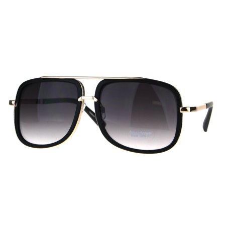 Gradient Lens Matte Black Frame (Luxury Double Frame Racer Gradient Lens Mens Large Sunglasses Matte Black Smoke )