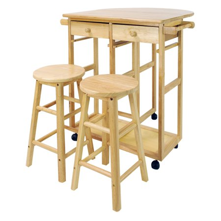 Enclosed Drop Leaf Cart - Breakfast Kitchen Cart with Drop-Leaf Table-Natural