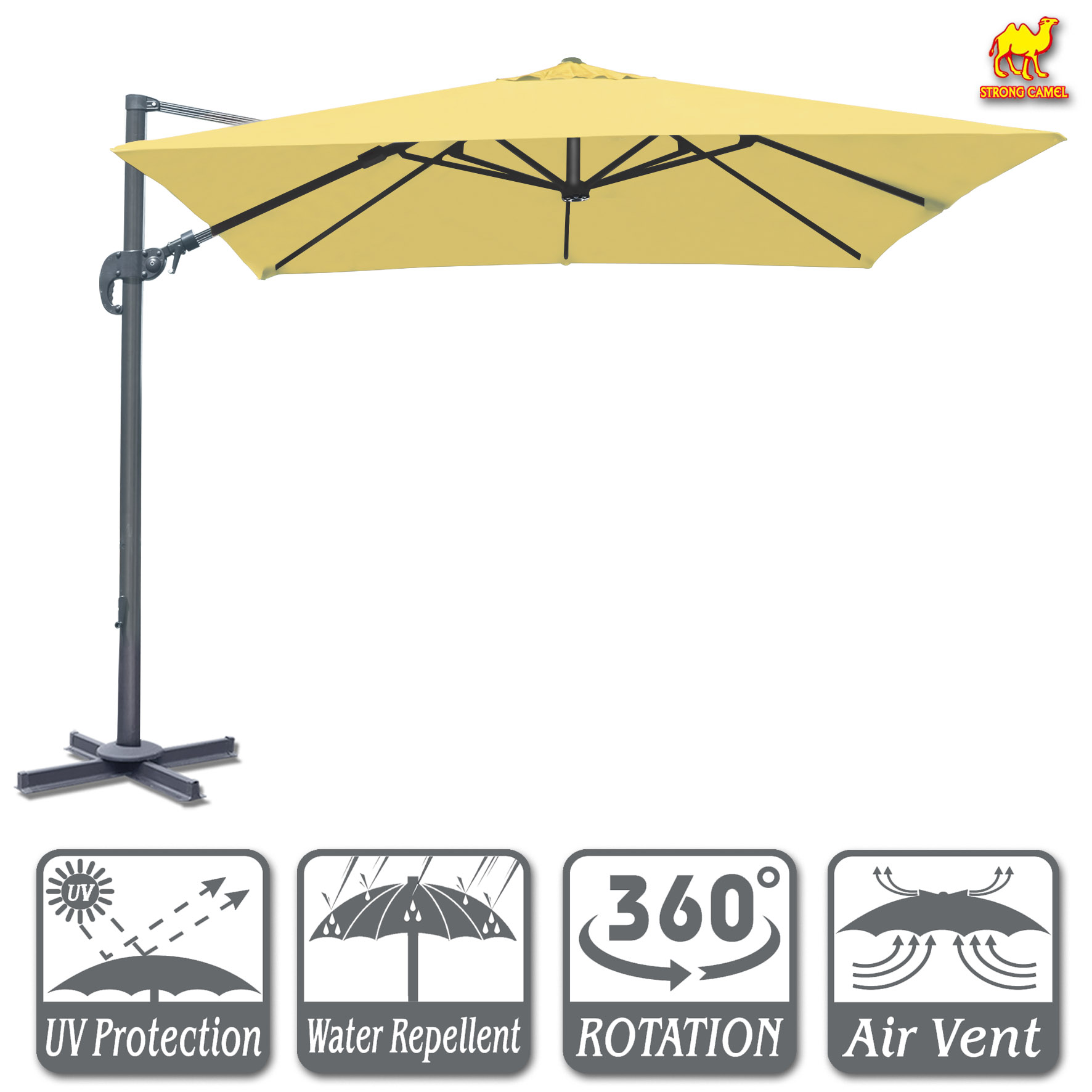 Strong Camel 10'x10' Off-Set Hanging Roma Umbrella Deluxe Patio Umbrella Tilt & 360 Rotation Patio Heavyduty Outdoor Sunshade Cantilever Crank(Steel Cross Base is Included)