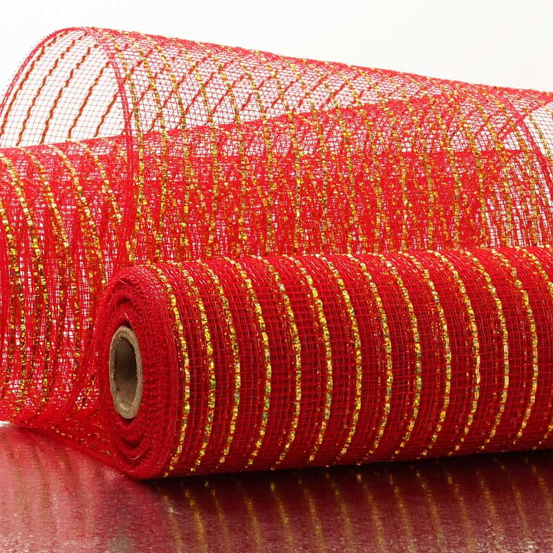 "10"" X 10 Yards Red/Gold Deco Mesh W/Metallic Stripes by Paper Mart"