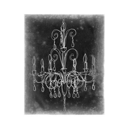 Chalkboard Chandelier Sketch II Print Wall Art By Ethan - Chandelier Halloween Party Sketch