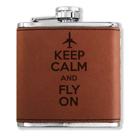 Faux Leather Flask - Keep Calm and Fly On - Dark Brown ()