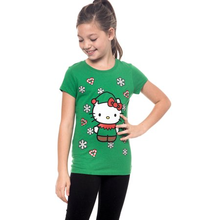 Hello Kitty Girls Green Christmas T-Shirt