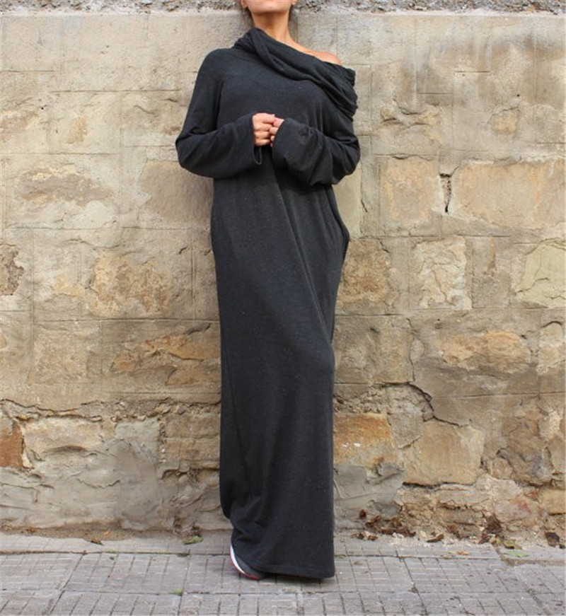 Knit Off-Shoulder Wrap Dress Loose Maxi Dress