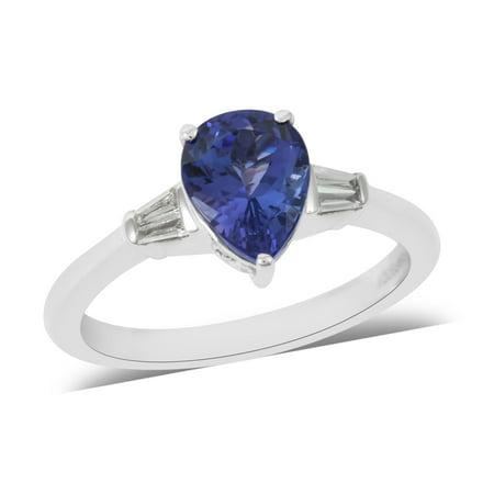 RHAPSODY 950 Platinum Pear AAAA Premium Tanzanite White Diamond Ring Women Jewelry for Gift Ct 1.6 E-F Color Vs1-Vs2 Clarity