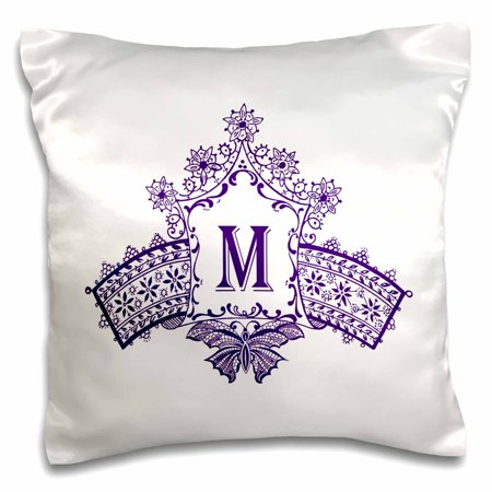 3dRose Monogram Initial M in Purple Diadem with Butterfly Detail - Pillow Case, 16 by 16-inch (Monogram M)