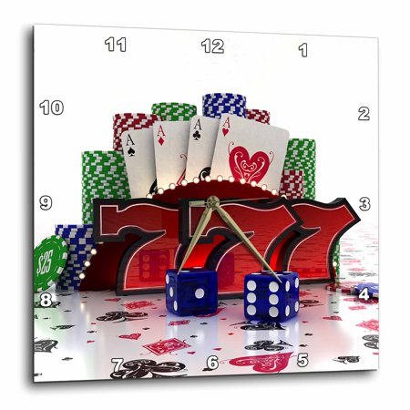 3dRose Casino concept with poker cards chips dice and slot style sevens, Wall Clock, 15 by - Casino Style