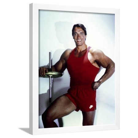 Arnold Schwarzenegger posed in Red Gym Outfit Framed Print Wall Art By Movie Star
