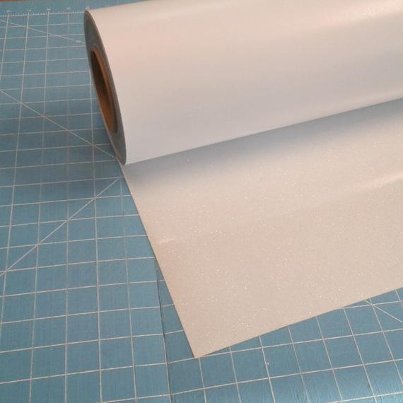 "White Siser Glitter 20"" x 10' (feet) Iron on Heat Transfer Vinyl Roll HTV"