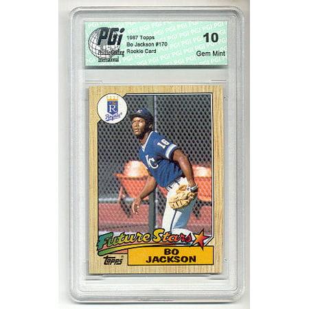 1987 Bo Jackson Topps Baseball Rookie Card PGI 10 RC! Autographed Bo Jackson Photograph