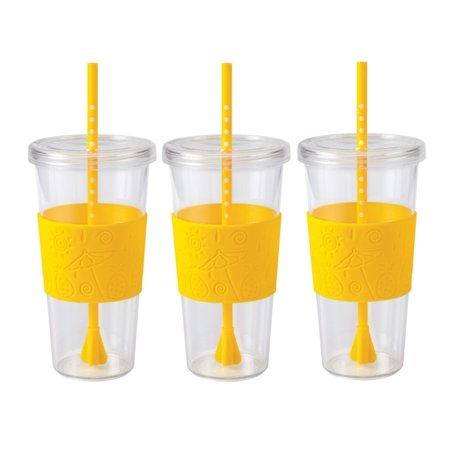 Copco Sierra On The Beach Tumbler for Cold Beverages With Spill Resistant Lid & Removable Straw - BPA Free Plastic 24 Oz - Pack Of 3 - Pineapple Yellow