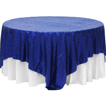 "1 Pc, Glitz Sequin Table Overlay Topper 90""X90"" Square - Navy Blue For Wedding Ceremonies & Receptions, Bridal Showers, Baby Showers, Quinceaneras, Anniversary Parties, Or Special Event"