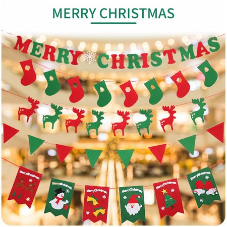 Hurrise Non Woven Fabric Christmas Hanging Flags Banner Bunting Diy Home Wall Decor Party Decoration