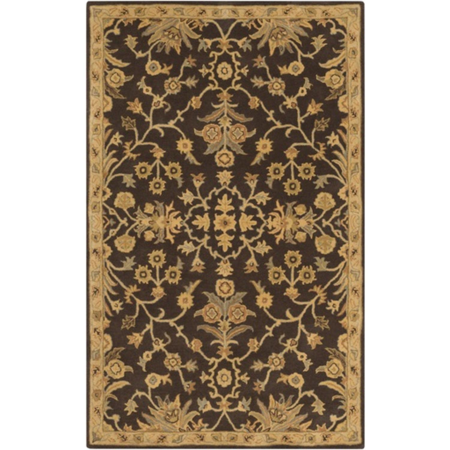 12' x 15' French Elegance Espresso, Gray and Gold Hand Tufted Wool Area Throw Rug