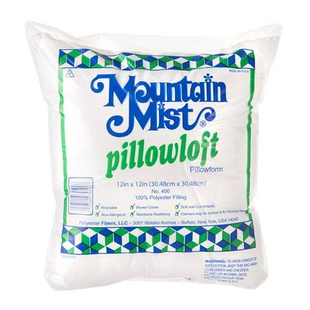 - Mountain Mist 12 x 12 Pillowform: Nonallergenic, Poly/Cotton