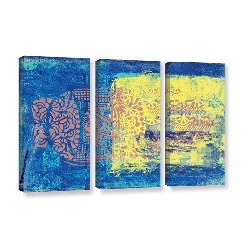ArtWall 'Blue with Stencils' by Elena Ray 3 Piece Painting Print on Wrapped Canvas Set by Art Wall