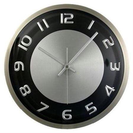 Round Wall Clock Silvertone Black