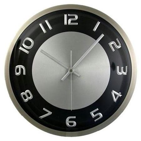 Round Wall Clock Silvertone Black