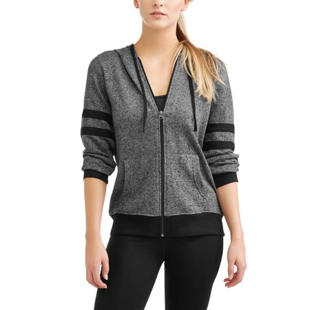 Womens Textured French Terry Full Zip Hoodie With Varsity Mesh Inserts