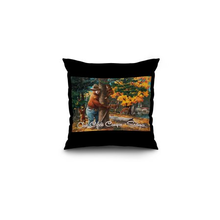 Sedona, Arizona - Smokey Bear Hugging Tree - Oak Creek Canyon - Lantern Press Artwork (16x16 Spun Polyester Pillow, Black Border)
