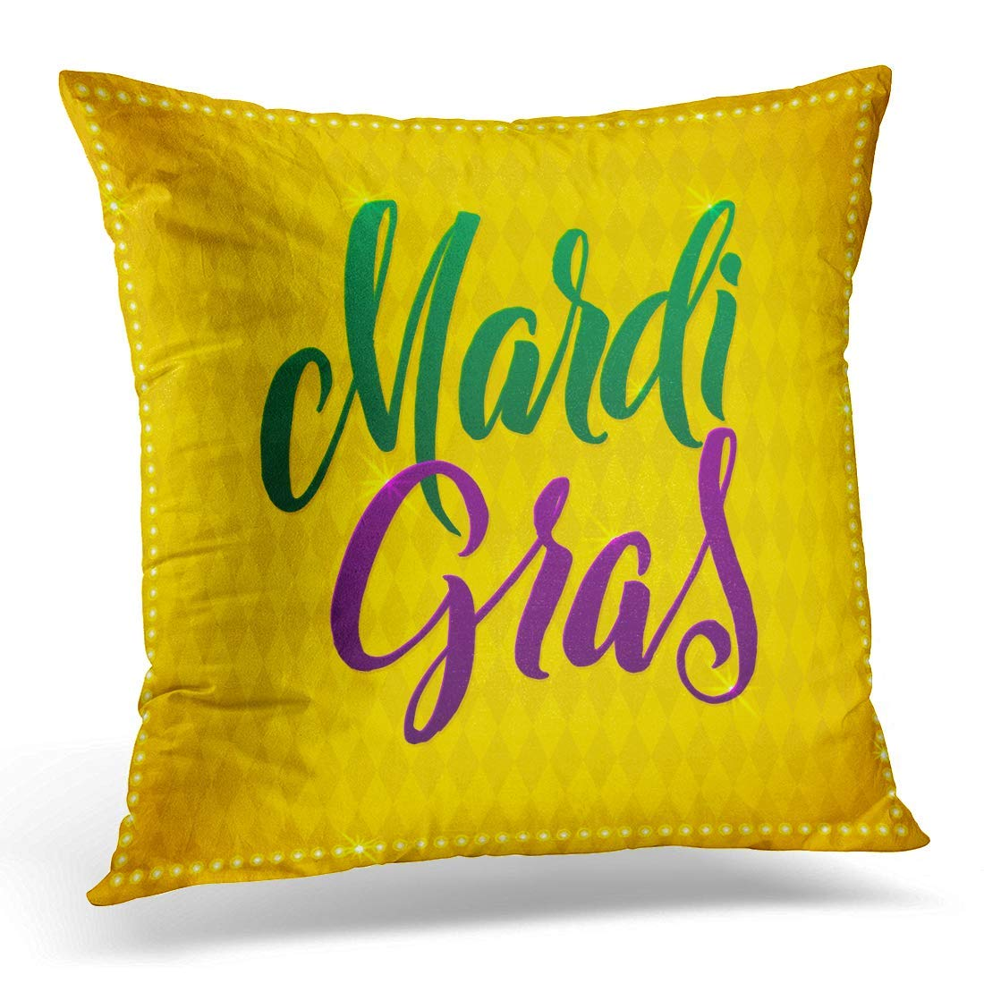 USART Colorful Happy Mardi Gras Carnival Calligraphy Calligraphic Yellow Treatment Gold Pillow Case Pillow Cover 20x20 inch